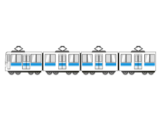 Blue line long train vehicle