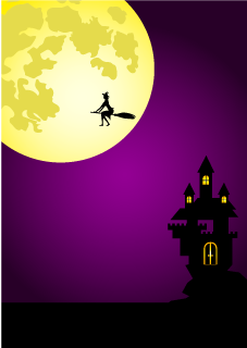 Witch flying on a moonlit night poster