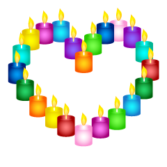 Colorful candle heart mark