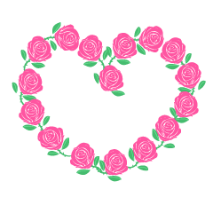 Pink rose heart mark