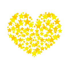 Heart mark of sparkling star