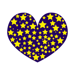 Heart mark of many stars