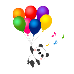 Panda flying in the balloon