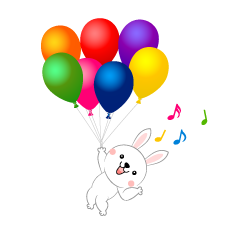 A rabbit flying in a balloon