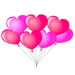 Many heart-shaped balloons