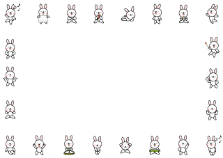 Various poses rabbit character frame