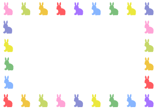 Colorful rabbit silhouette frame