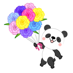 Cute panda giving a flower bouquet
