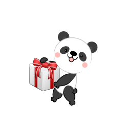 Cute panda with a present box