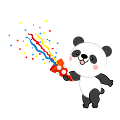 Panda using party popper