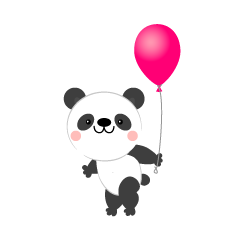 Panda with balloons