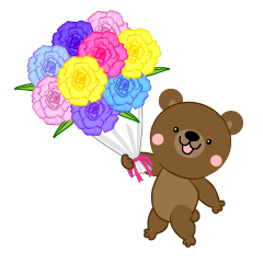 Bear giving a flower bouquet