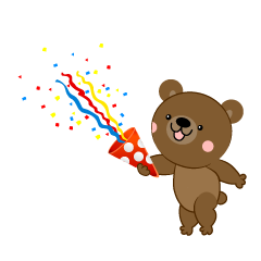 Bear using party popper