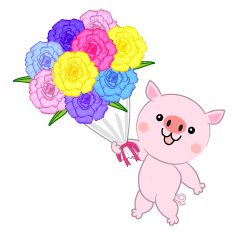 Pig presenting a bouquet