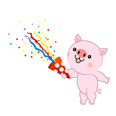 Pig using party popper