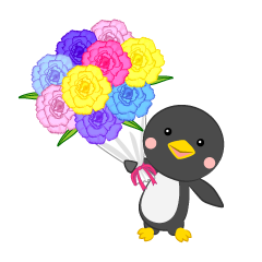 Penguin giving a bouquet