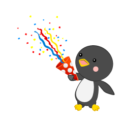 Penguin using party popper