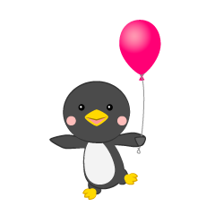 Penguin with a ballon
