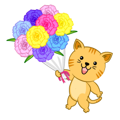 Tiger cat giving flowers bouquet
