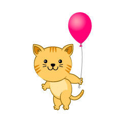 Tiger cat with a ballon