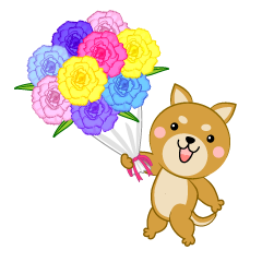 Dog to present a bouquet of flowers