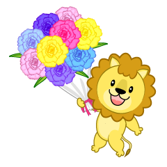 Lion giving a bouquet of flowers