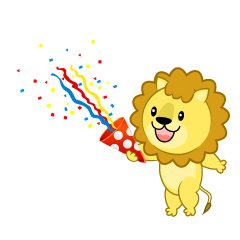 Lion using party popper