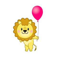 Lion with a ballon