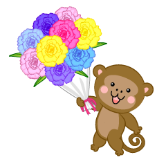Monkeys presenting bouquets