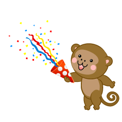 Monkey using party popper
