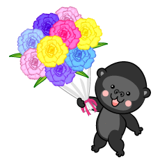 Cute gorilla giving flowers