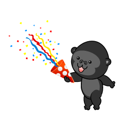 Cute Gorilla using party popper