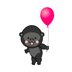 Cute Gorilla with a ballon
