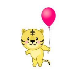 Tiger with a ballon