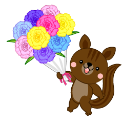 Squirrel to present a bouquet of flowers