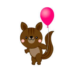 Squirrel with a ballon