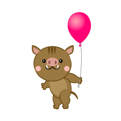 Wild boar with a balloon