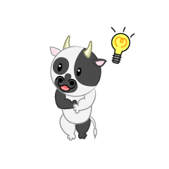Cute cow with ideas inspired