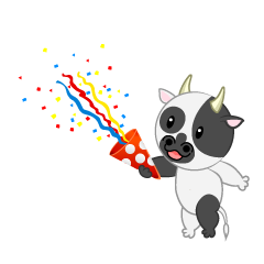 Cute Cow using party popper