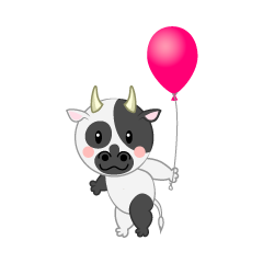 Cute Cow with a balloon
