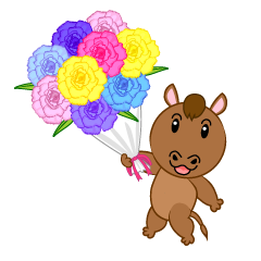 Cute horse giving a bouquet