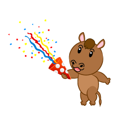 Cute Horse using party popper