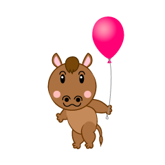 Cute Horse with a balloon
