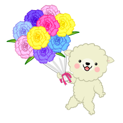 Cute sheep to present a bouquet of flowers