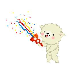 Sheep using party popper