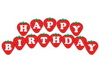 HAPPY BIRTHDAY title of strawberries