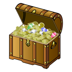 Treasure box with treasure