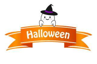 Cute ghost Halloween banner ribbon