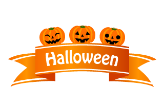 Halloween pumpkin banner ribbon