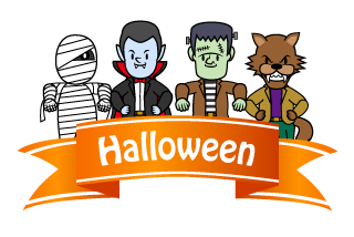 Monster Halloween Banner Ribbon